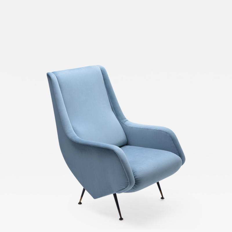 Reupholstered 1950s Blue Italian Armchair
