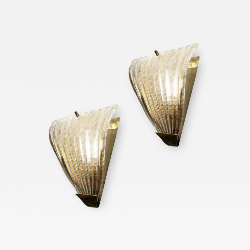Ribbed Murano Glass Sconces Italy 1960s