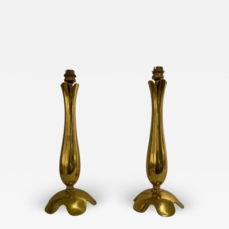 Riccardo Scarpa Pair of Polished Bronze Lamps by Scarpa France 1950s