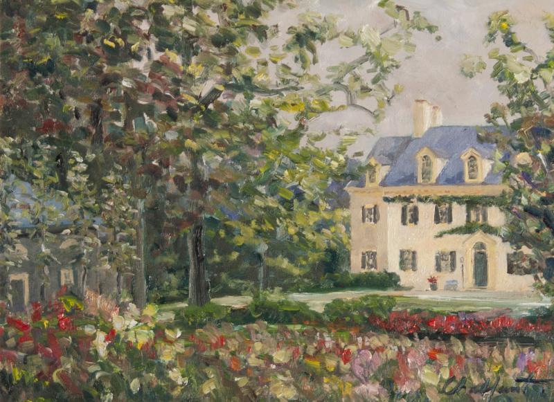 Richard Barnard Chalfant Gardens of Eleutherian Mills Oil on Panel by Richard Chalfant