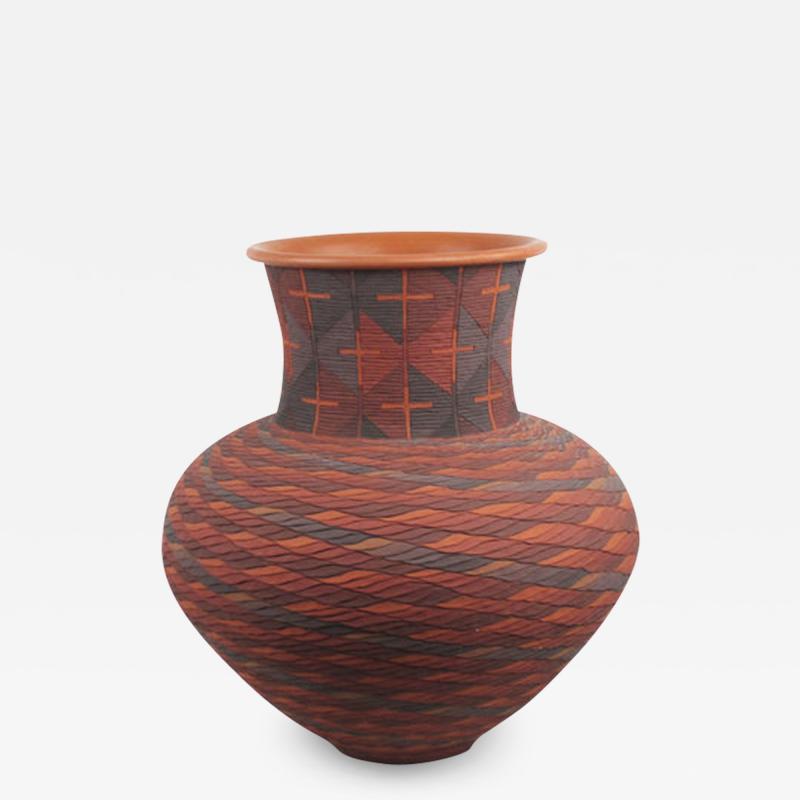 Richard Zane Smith Corrugated polychrome Wyandot jar by Richard Zane Smith