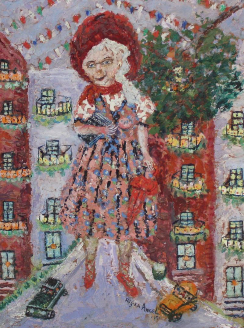Rifka Angel Giant Woman Encaustic Painting by Rifka Angel 1971