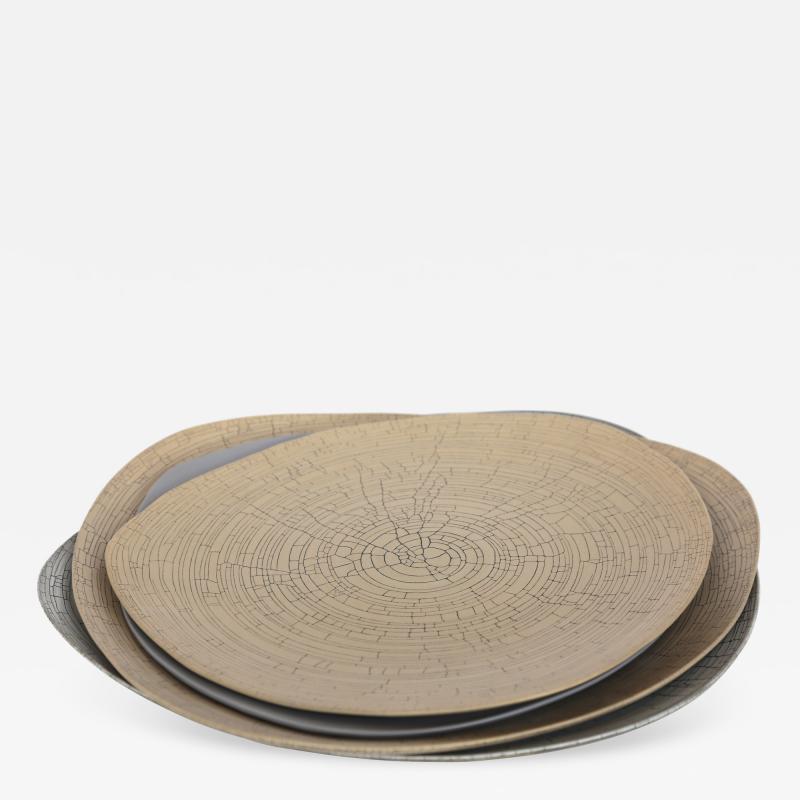 Rina Menardi Rina Menardi Handmade Ceramic Crackled Triangular Bowls and Plate