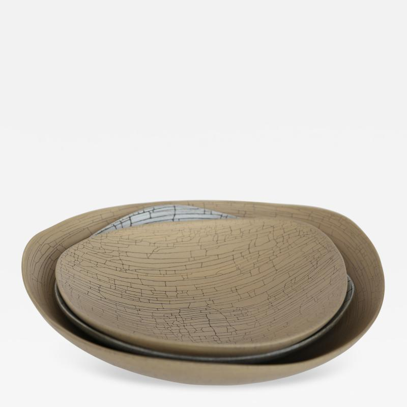 Rina Menardi Rina Menardi Handmade Ceramic Triangular Crackled Bowls