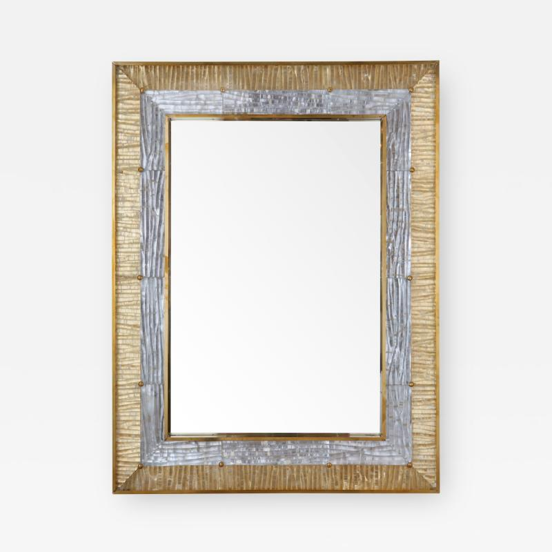 Ripple Mirror Ribbed Murano Glass in Gold and Clear on a Natural Brass Frame