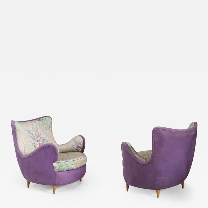 Rito Valla Pair of MidCentury armchairs attributed to Rito Valla fabric Fede Cheti purple