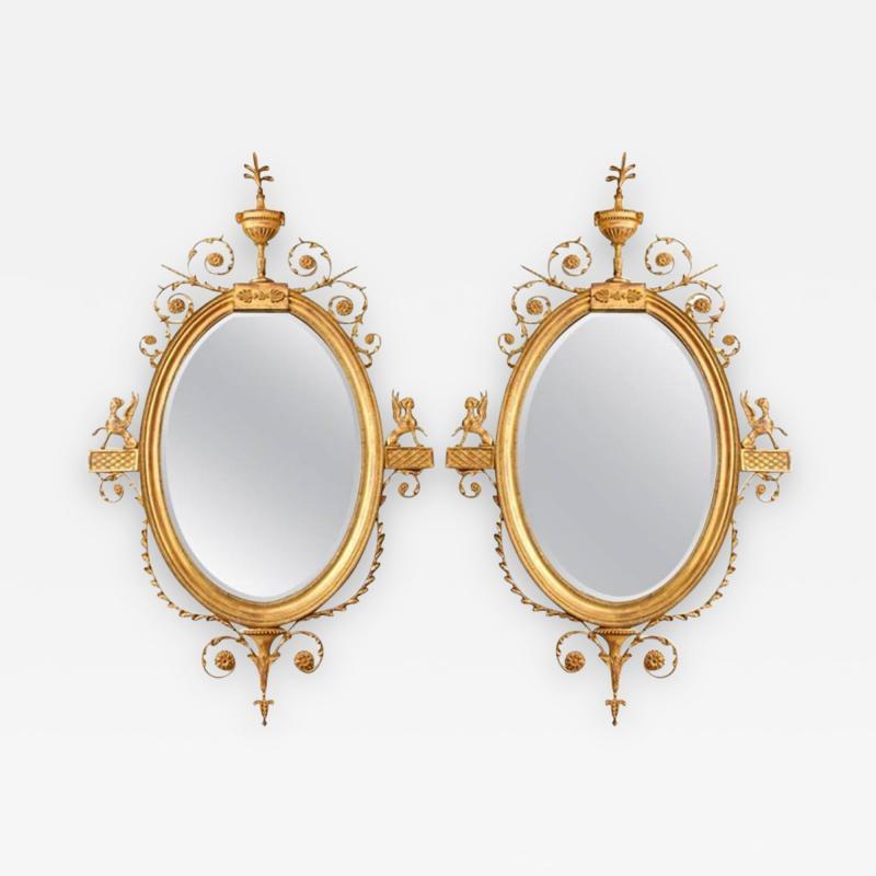 Robert Adam A Pair of George III Style Giltwood Mirrors