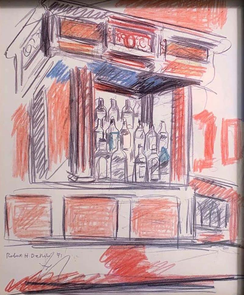 Robert De Niro Sr Robert De Niro Sr Iconic Maxwell Mahogany Bar Sketch