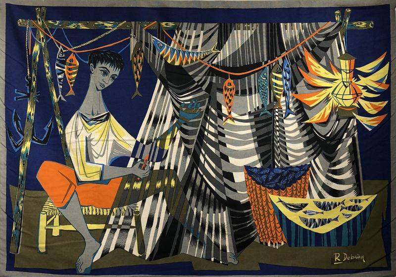 Robert Debieve Les remailleur de filets Colorful Tapestry Signed Robert Debieve