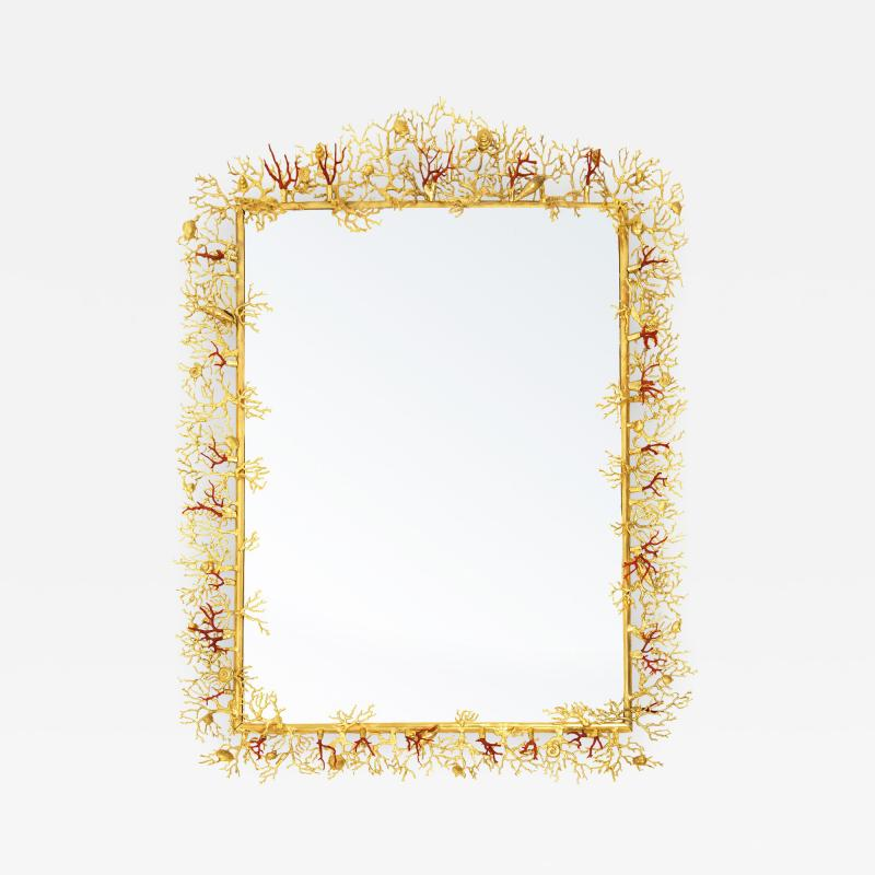 Robert Goossens Coral mirror with natural coral and gilded bronze by Robert Goossens 1970