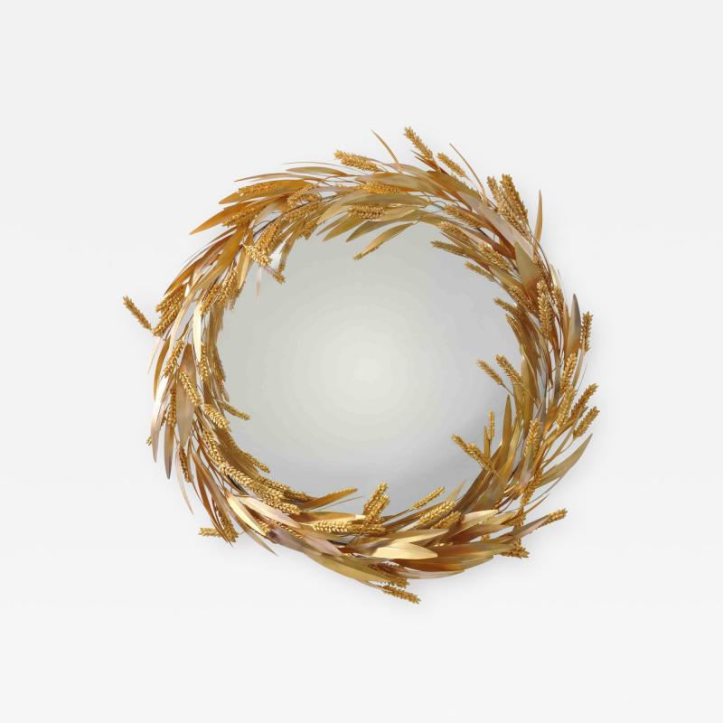 Robert Goossens Crown of wheat mirror by Robert Goossens circa 1970