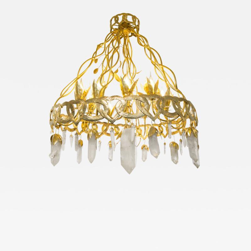 Robert Goossens Heart chandelier in bronze and rock crystal Robert Goossens circa 1970