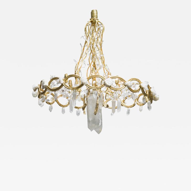 Robert Goossens Ribbon chandelier by Robert Goossens in bronze and rock crystal France 1983
