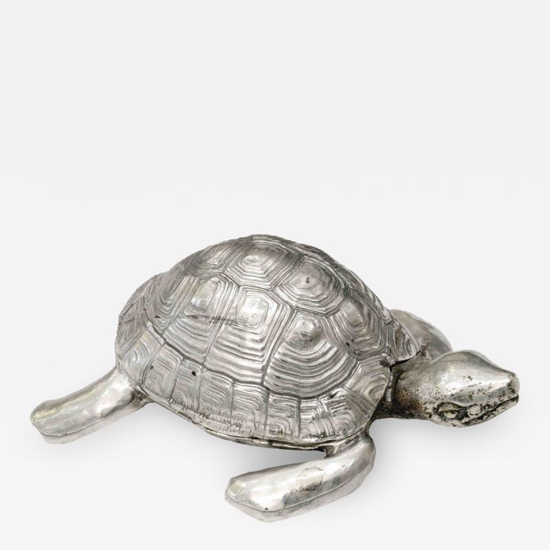 Robert Goossens Silvered bronze turtle box by Robert Goossens circa 1970