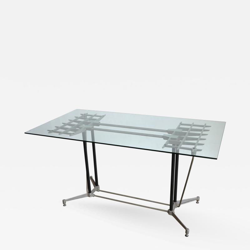 Robert Josten Robert Josten 1970s Metal Grid and Glass Desk with Wood Chair