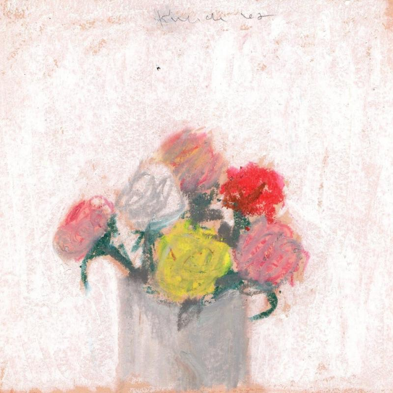 Robert M Kulicke Red Pink Yellow and White Flowers in a Vase Against a White Background 1962
