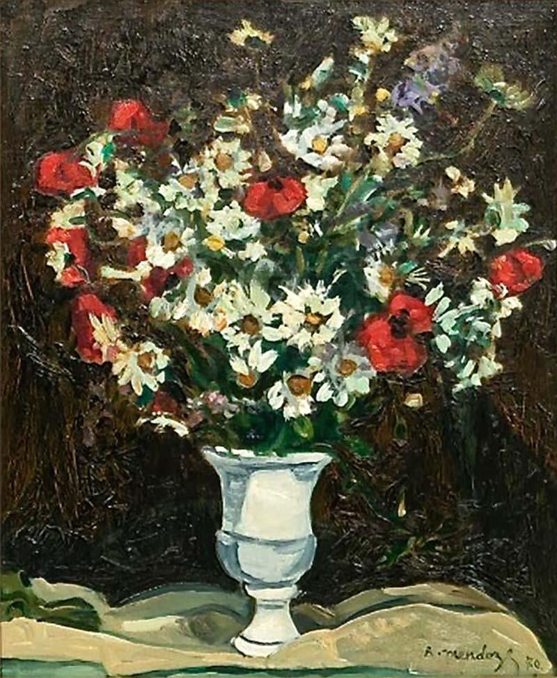 Robert Mendoze Still Life Bouquet De Fleurs Champs
