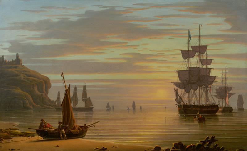 Robert Salmon Calm Sunset Shipping Tynemouth Point and Boat