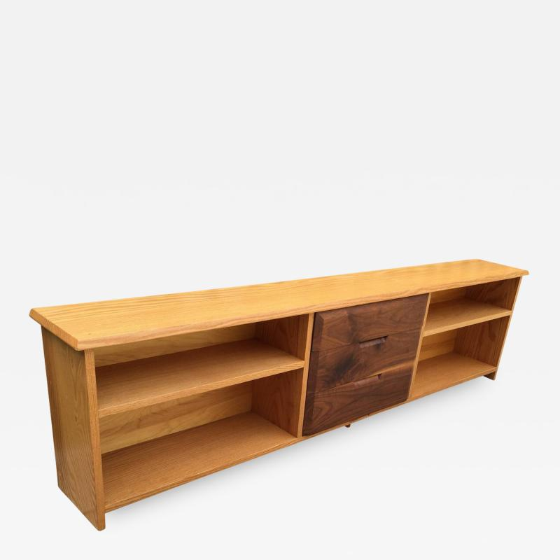Robert Whitley White Oak and Black Walnut Low Shelf by Robert Whitley