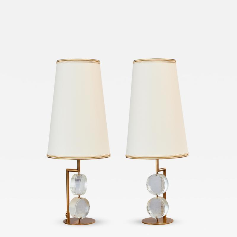 Roberto Giulio Rida Pair of Limited Edition Etched Glass Lamps