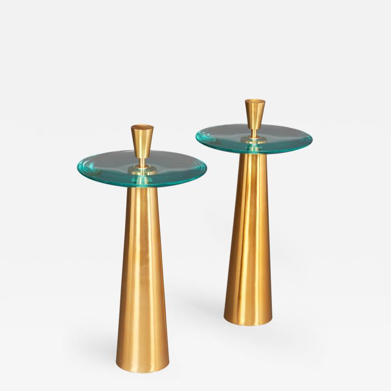 Roberto Giulio Rida Pair of Limited Edition Glass Side Tables