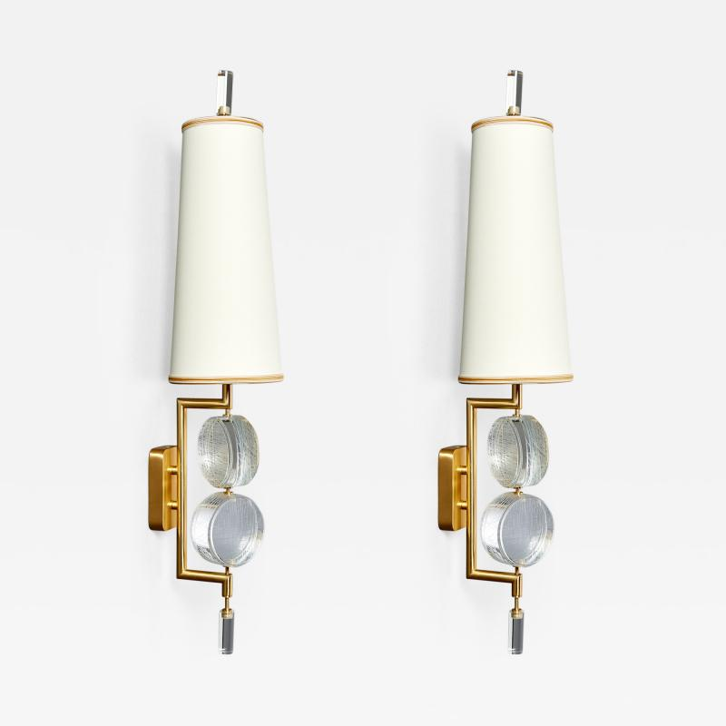 Roberto Giulio Rida Pair of Stunning Glass Sconces by Roberto Rida