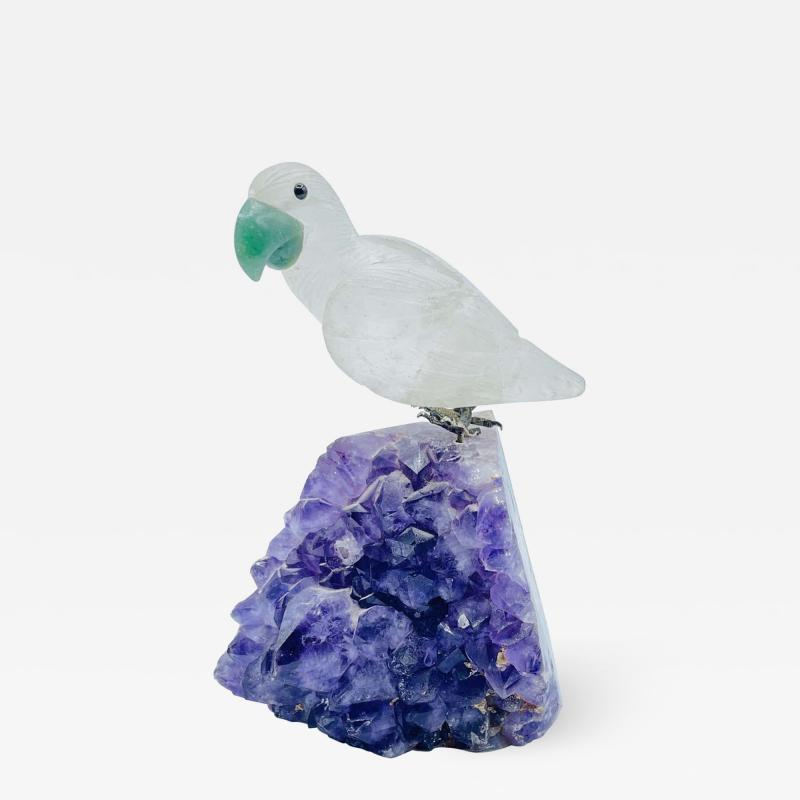 Rock Crystal and Amethyst Geode Sculpture of A Carved Parrot Bird