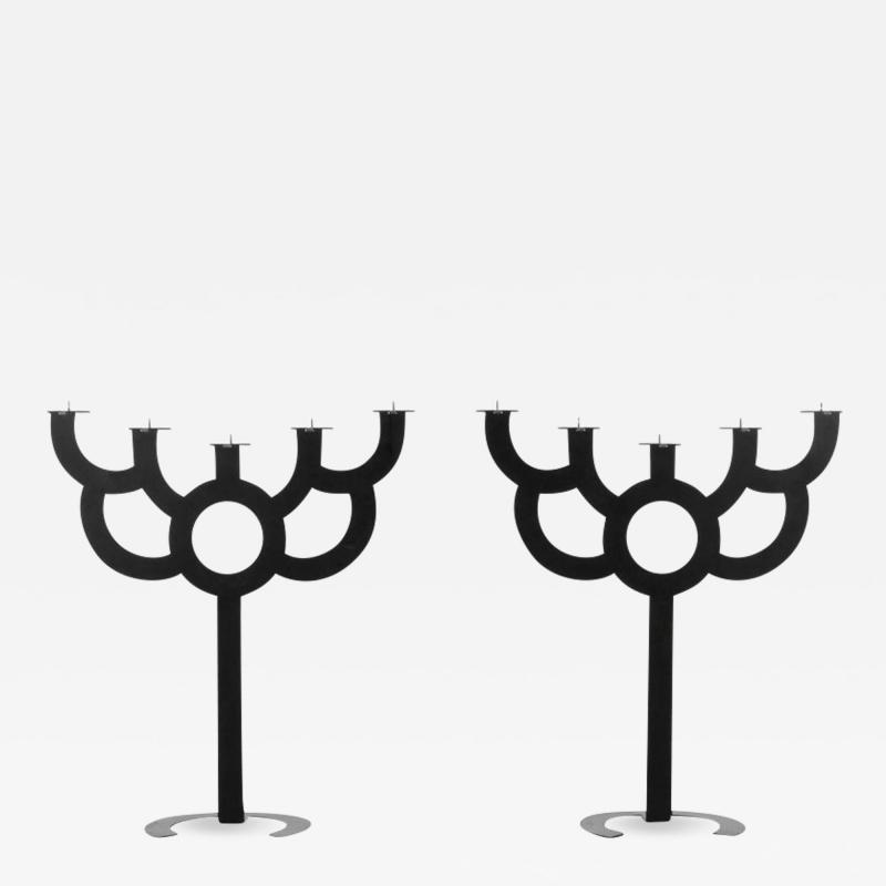 Roderick Vos Moooi Pair of Postmodern Roderick Vos for Moooi Big Bold Floor Black Metal Candelabras
