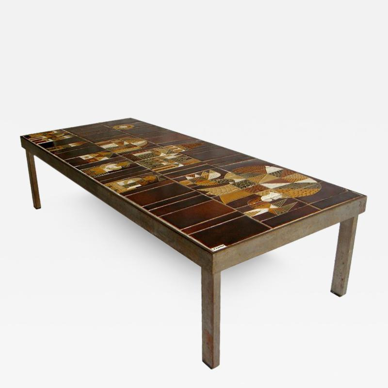Roger Capron French 1960s Metal Base and Ceramic Top Coffee Table by Roger Capron