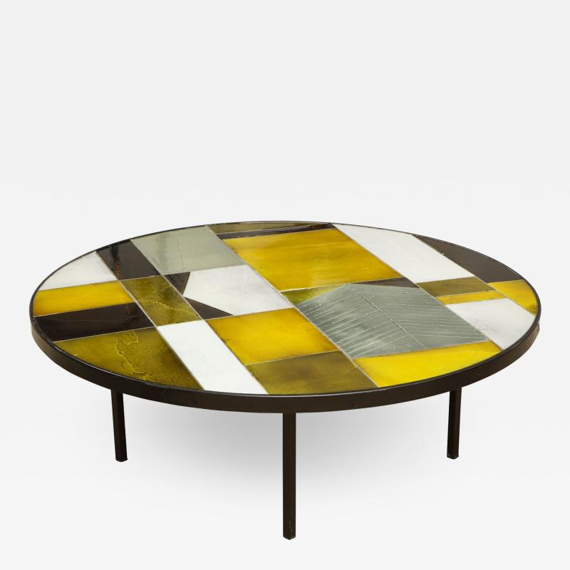 Roger Capron Low round table with ceramic top