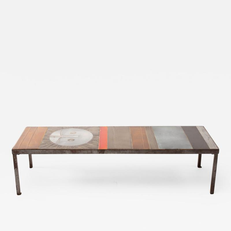 Roger Capron Roger Capron Large Table au soleil Steel and Ceramic Tiles Vallauris France
