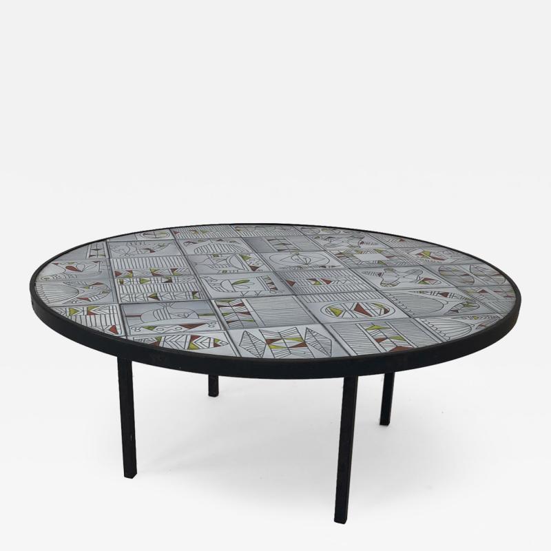 Roger Capron Roger Capron rare naive figuratif round coffee table