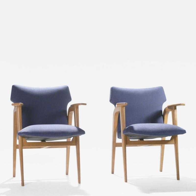 Roger Landault French Mid century oak compass armchairs by Roger Landault 1950s