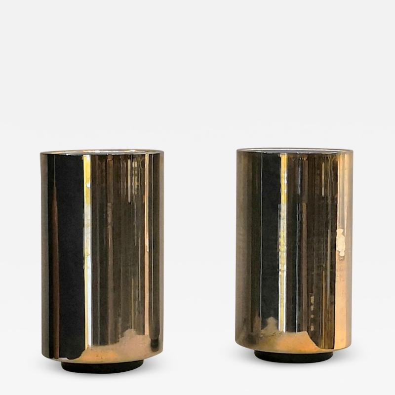 Roger Nathan rarest pair of gilt table Corfou lamps by Roger Nathan France 1970s