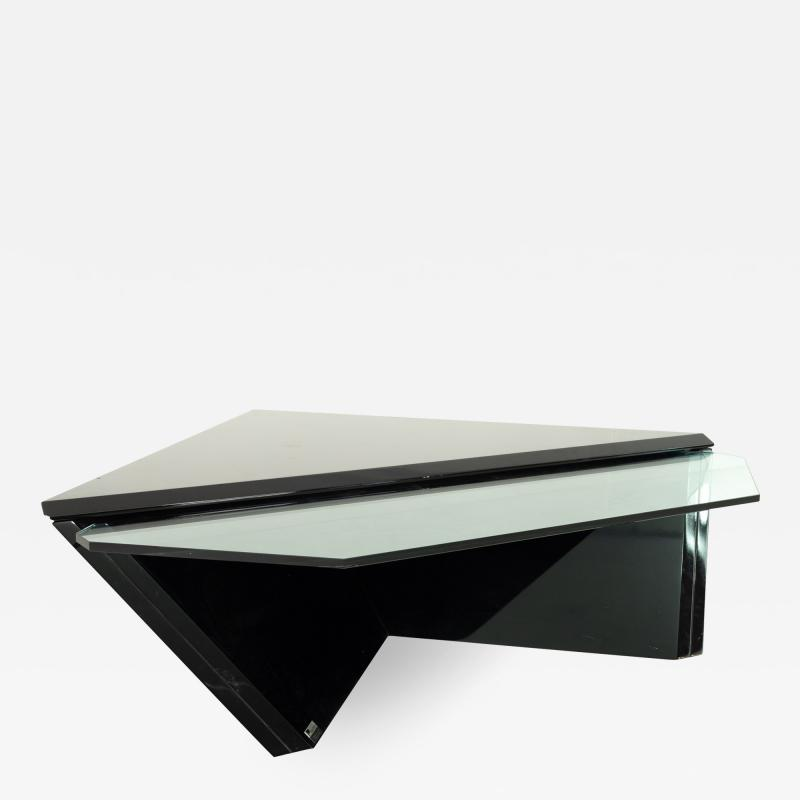 Roger Rougier Mid Century Diamond Glass and Lacquer Coffee Table by Roger Rougier