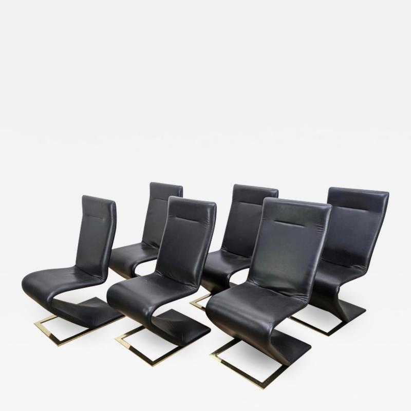 Roger Rougier SUITE OF SIX ROGER ROUGIER ZIG ZAG DINING CHAIRS