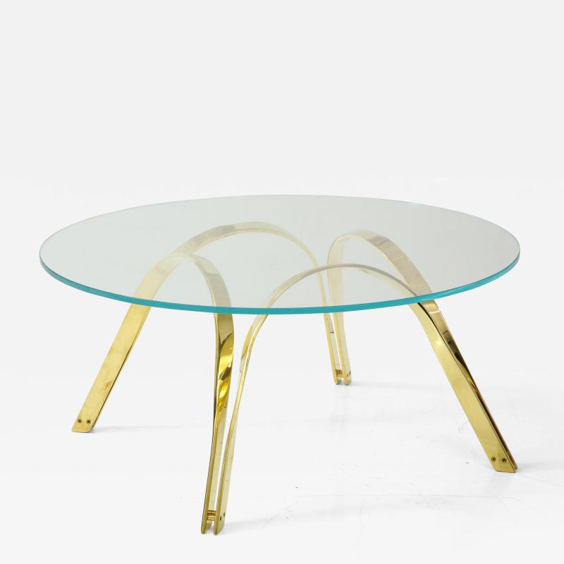 Roger Sprunger 20th Century Polished Brass and Glass Cocktail Table