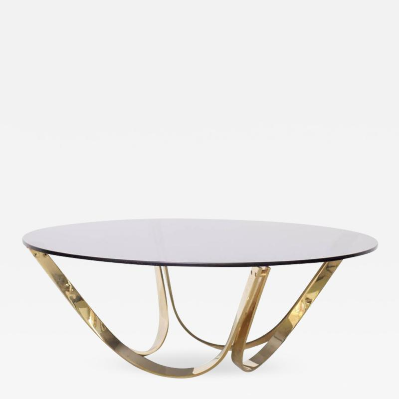 Roger Sprunger Brass and Smoked Glass Coffee Table by TriMark circa 1971