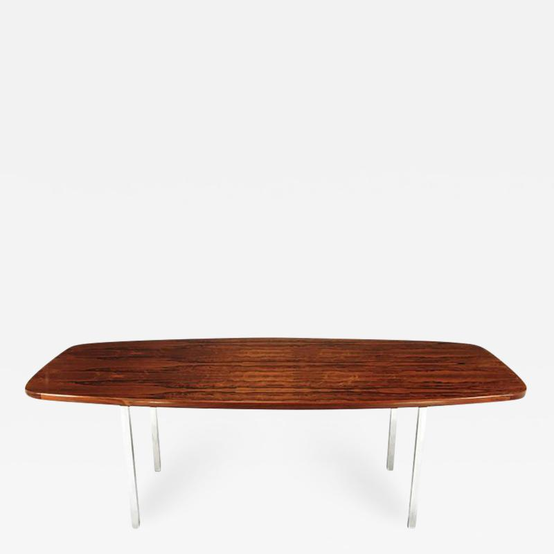 Roger Sprunger Dunbar Rosewood Dining Table with Polished Stainless Steel Base