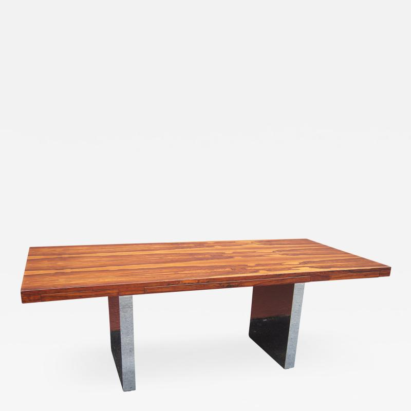 Roger Sprunger Rosewood and Chrome Executive Desk by Roger Sprunger for Dunbar