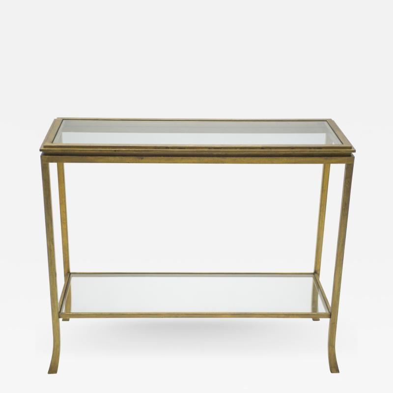 Roger Thibier Rare Mid century Roger Thibier gilt wrought iron gold leaf console table 1960s