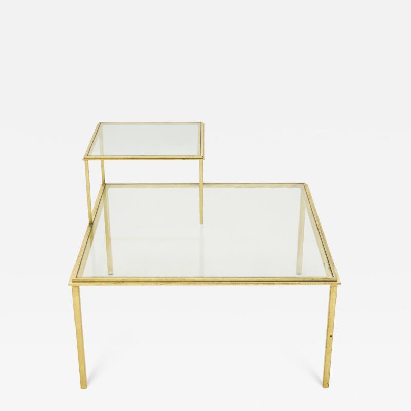 Roger Thibier Roger Thibier gilt wrought iron glass coffee end table 1960s