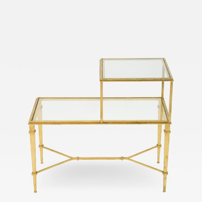Roger Thibier Roger Thibier gilt wrought iron glass two tier end table 1960s