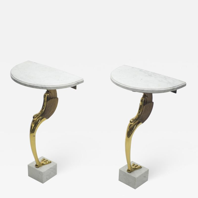 Roger Thibier Unique Mid century Roger Thibier Pair of brass marble console tables 1970s