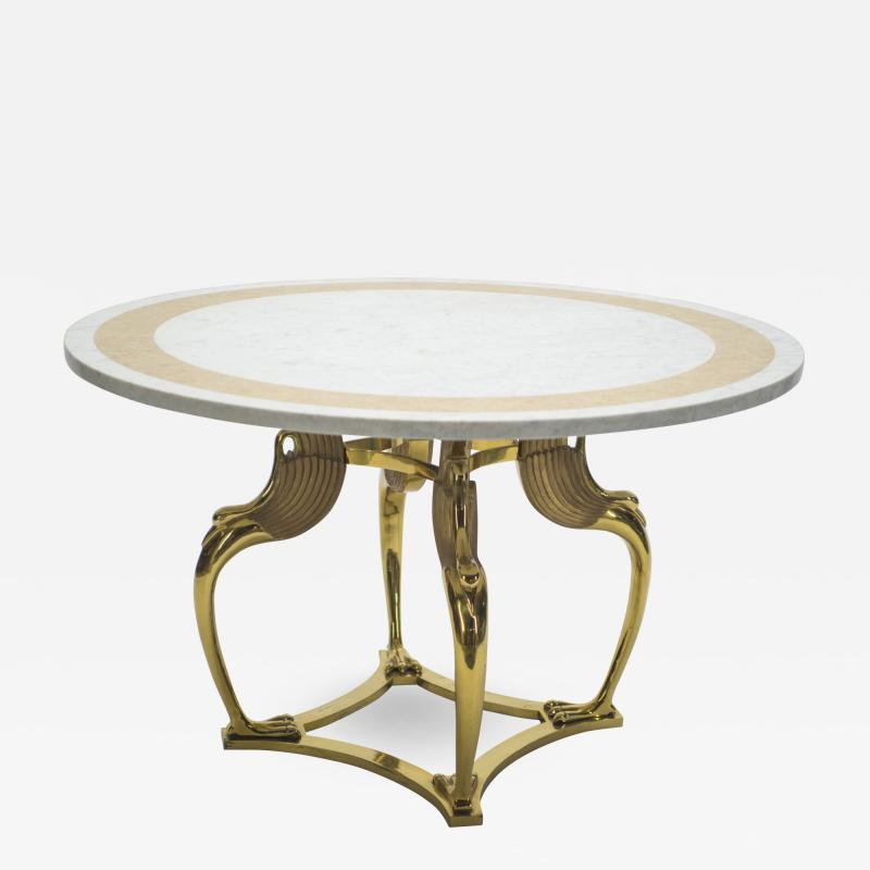 Roger Thibier Unique Mid century Roger Thibier brass marble dining table 1970s