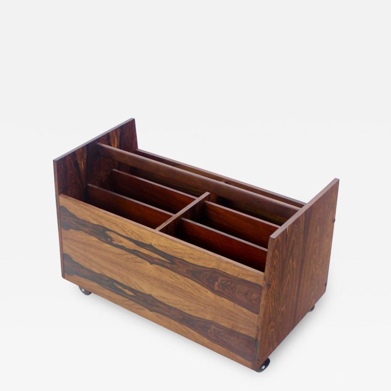 Rolf Hesland Scandinavian Modern Rosewood Magazine or Vinyl Record Caddy by Rolf Hesland