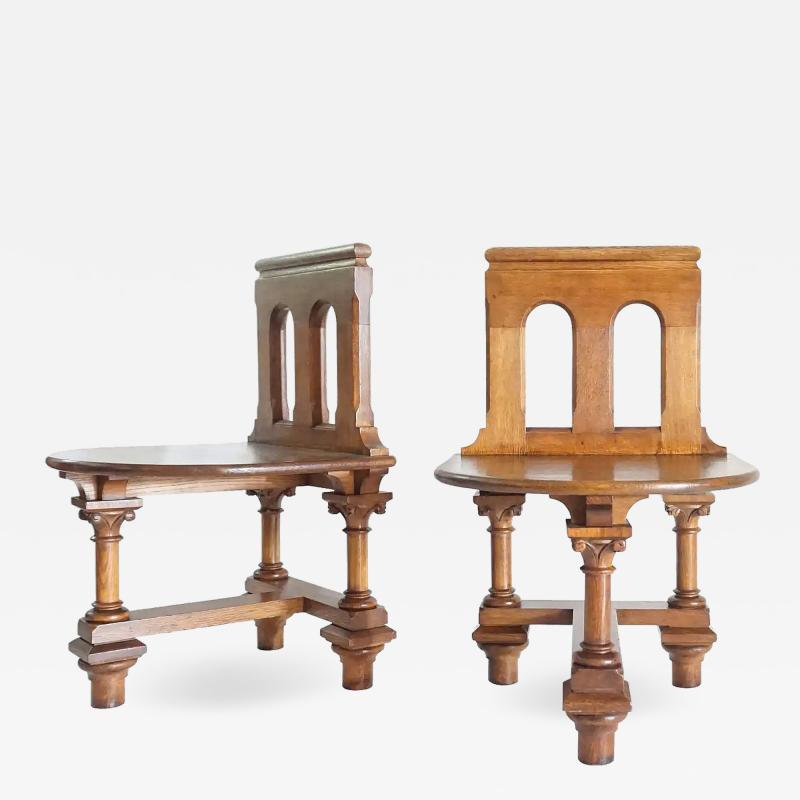 Romanesque Revival Oak Hall Seats Normandy