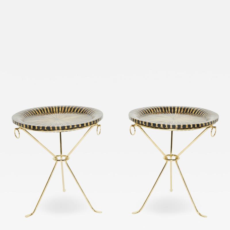 Romeo Paris Pair of Romeo Paris brass straw marquetry gueridon tables 1970s