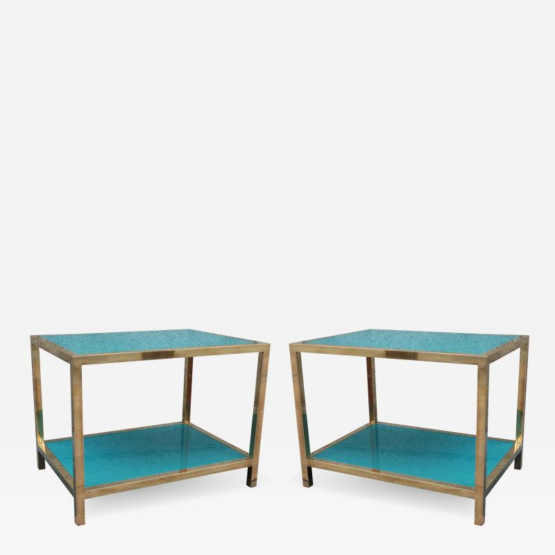 Romeo Rega A pair of brass and lacquered glass by Romeo Rega Italy 70