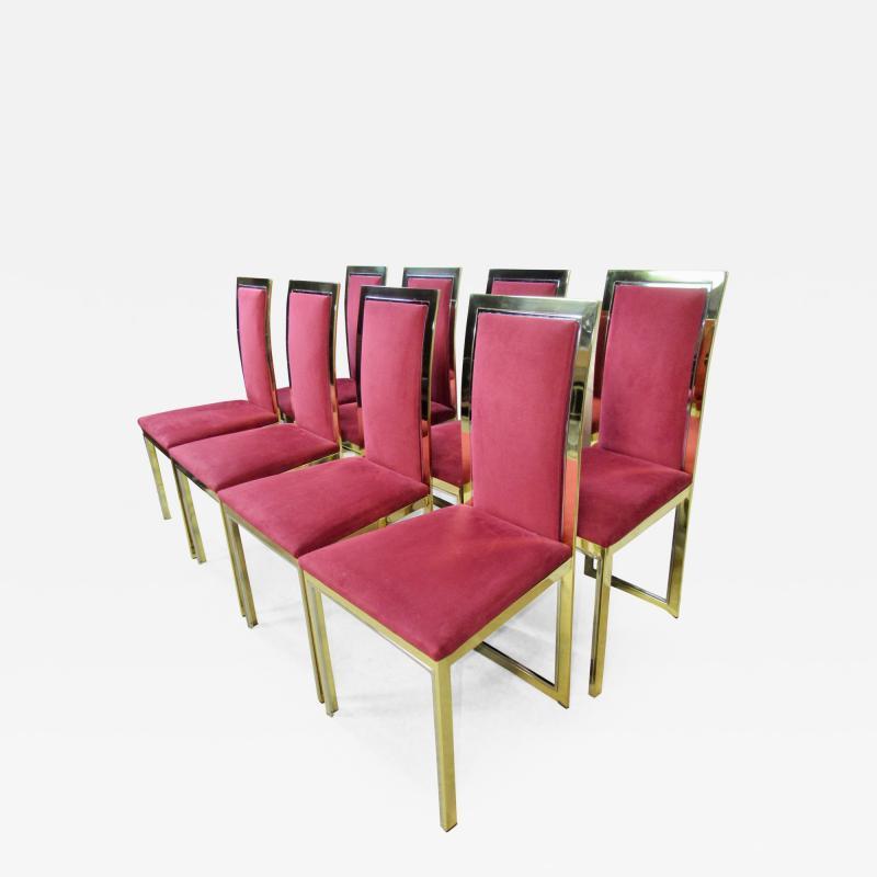 Romeo Rega Eight Romeo Rega Style Brass Dining Chairs Italy 1980